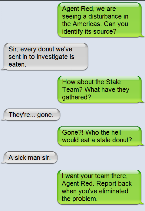 Conversation between two jelly donuts
